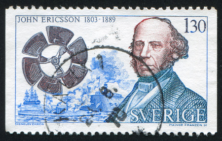 ericsson: SWEDEN - CIRCA 1976: stamp printed by Sweden, shows John Ericsson, ship propeller and Monitor, circa 1976