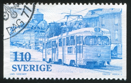window seal: SWEDEN - CIRCA 1977: stamp printed by Sweden, shows Electric trolley, circa 1977 Editorial