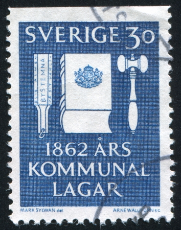 codex: SWEDEN - CIRCA 1962: stamp printed by Sweden, shows Voting Tool, Codex of Law and Gavel, circa 1962
