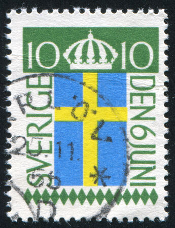 legitimacy: SWEDEN - CIRCA 1955: stamp printed by Sweden, shows Crown and Flag, circa 1955