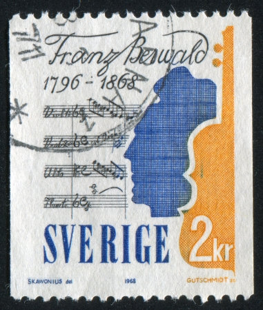 golconda: SWEDEN - CIRCA 1968: stamp printed by Sweden, shows Franz Berwald, Violin and His Music, circa 1968