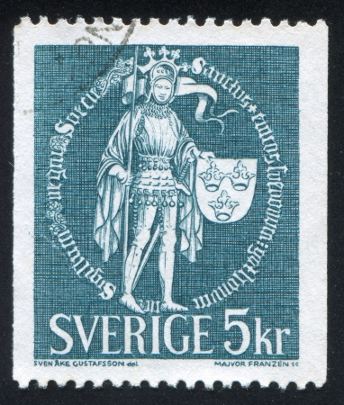 SWEDEN - CIRCA 1967: stamp printed by Sweden, shows Great Seal (St. Erik with Banner and Shield), circa 1967