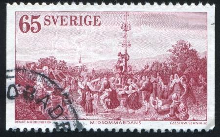 SWEDEN - CIRCA 1973: stamp printed by Sweden, shows Midsummer Dance by Bengt Nordenberg, circa 1973 Stock Photo - 24618516