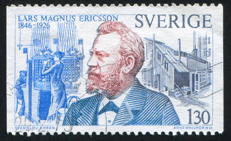 ericsson: SWEDEN - CIRCA 1976: stamp printed by Sweden, shows Lars Magnus Ericsson and switchboard, circa 1976