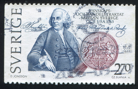 SWEDEN - CIRCA 1983: stamp printed by Sweden, shows Ben Franklin, Swedish Arms, circa 1983