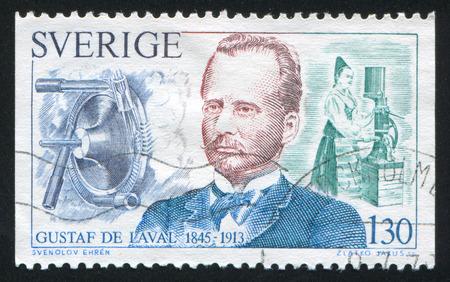 gustaf: SWEDEN - CIRCA 1976: stamp printed by Sweden, shows Gustaf de Laval and milk separator, circa 1976 Editorial