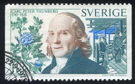 carl: SWEDEN - CIRCA 1973: stamp printed by Sweden, shows Carl Peter Thunberg, circa 1973 Editorial