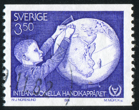 blind child: SWEDEN - CIRCA 1981: stamp printed by Sweden, shows Blind child and Globe, circa 1981