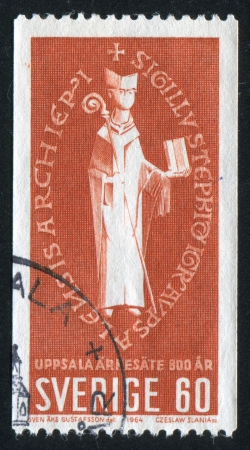 archbishop: SWEDEN - CIRCA 1964: stamp printed by Sweden, shows Seal of Archbishop Stephen, circa 1964