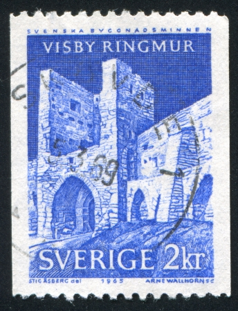 SWEDEN - CIRCA 1965: stamp printed by Sweden, shows Visby Town Wall, circa 1965