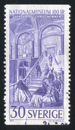 SWEDEN - CIRCA 1966: stamp printed by Sweden, shows National Museum, Staircase, circa 1966