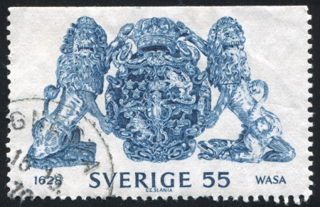 salvaging: SWEDEN - CIRCA 1969: stamp printed by Sweden, shows Great Swedish coat of arms, circa 1969