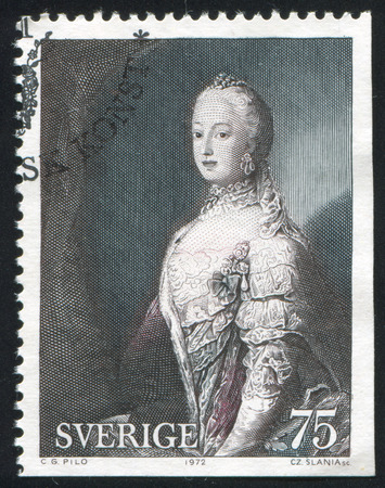 carl: SWEDEN - CIRCA 1972: stamp printed by Sweden, shows Queen Sofia Magdalena by Carl Gustaf Pilo, circa 1972 Editorial