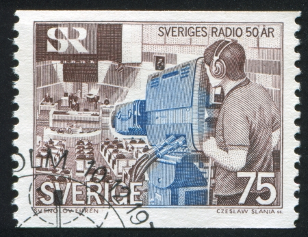 parliamentary: SWEDEN - CIRCA 1974: stamp printed by Sweden, shows Televising parliamentary debate, circa 1974