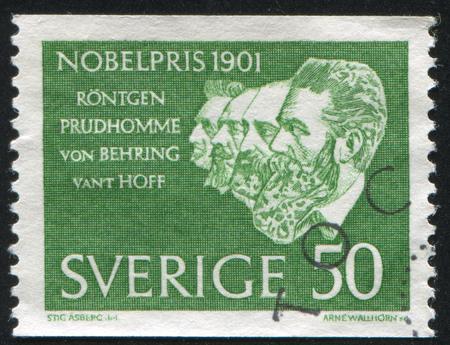 SWEDEN - CIRCA 1961: stamp printed by Sweden, shows Roentgen, Prudhomme, von Behring, van Hoff, circa 1961