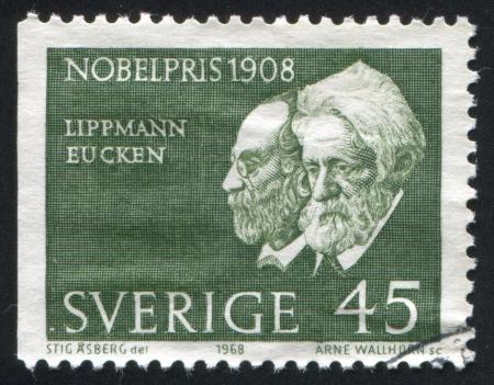 rudolf: SWEDEN - CIRCA 1968: stamp printed by Sweden, shows Gabriel Lippmann, Rudolf Eucken, circa 1968