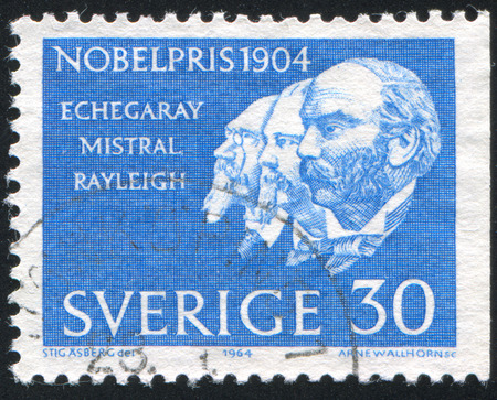 frederic: SWEDEN - CIRCA 1964: stamp printed by Sweden, shows Jose Echegaray Eizaguirre, Frederic Mistral and John William Strutt, Lord Rayleigh, circa 1964