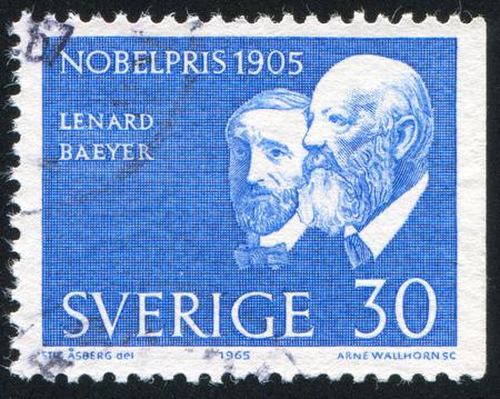 adolf: SWEDEN - CIRCA 1965: stamp printed by Sweden, shows Philipp von Lenard, Adolf von Baeyer, circa 1965 Editorial