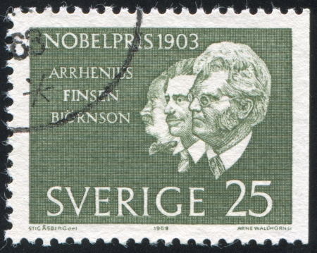 laureate: SWEDEN - CIRCA 1963: stamp printed by Sweden, shows Svante Arrhenius, Niels Finsen, Bjornstjerne Bjornson, circa 1963