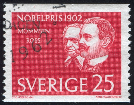 theodor: SWEDEN - CIRCA 1962: stamp printed by Sweden, shows Theodor Mommsen and Sir Ronald Ross, circa 1962