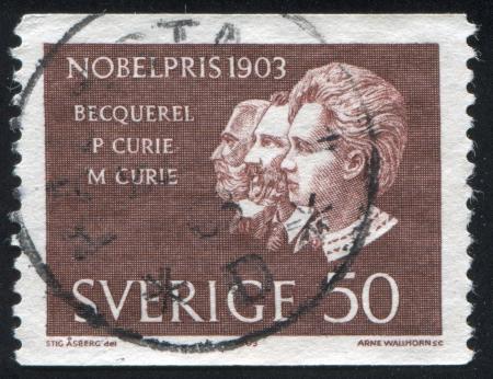 henri: SWEDEN - CIRCA 1963: stamp printed by Sweden, shows Antoine Henri Becquerel, Pierre and Marie Curie, circa 1963