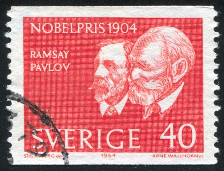 petrovich: SWEDEN - CIRCA 1964: stamp printed by Sweden, shows Sir William Ramsey and Ivan Petrovich Pavlov, circa 1964 Editorial