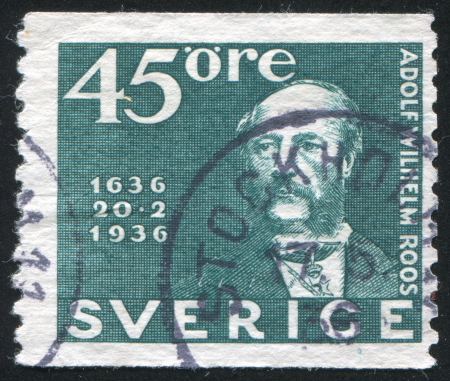 postmaster: SWEDEN - CIRCA 1936: stamp printed by Sweden, shows Postmaster General Adolf Wilhelm Roos, circa 1936