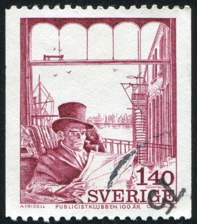 publicist: SWEDEN - CIRCA 1974: stamp printed by Sweden, shows Mr. Simmons, by Axel Fridell, circa 1974