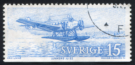SWEDEN - CIRCA 1972: stamp printed by Sweden, shows Airplane Junkers JU52, circa 1972