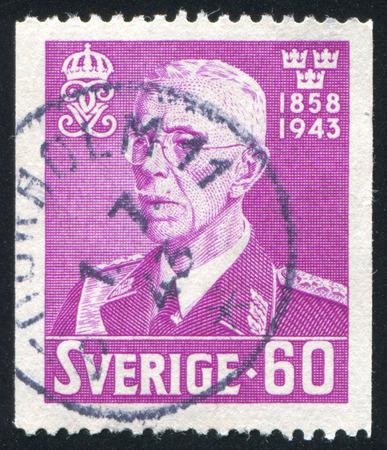 gustaf: SWEDEN - CIRCA 1943: stamp printed by Sweden, shows King Gustaf V, circa 1943