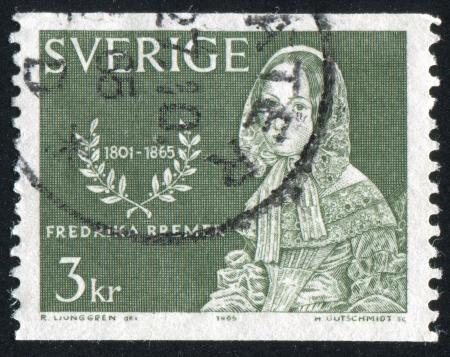 novelist: SWEDEN - CIRCA 1965: stamp printed by Sweden, shows Fredrika Bremer, Novelist, circa 1965