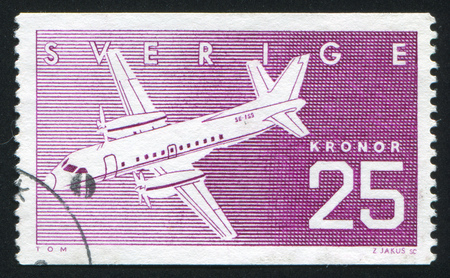 SWEDEN - CIRCA 1987: stamp printed by Sweden, shows Airplane Saab SF340, circa 1987