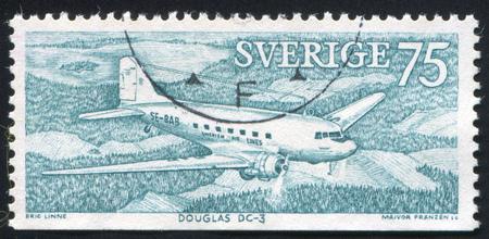 SWEDEN - CIRCA 1972: stamp printed by Sweden, shows Douglas DC-3, circa 1972