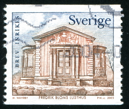 wood pillars: SWEDEN - CIRCA 2003: stamp printed by Sweden, shows Pavilion by Frederik Blom, circa 2003