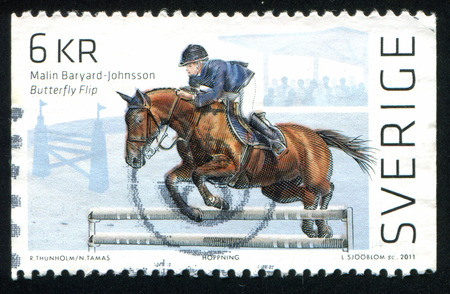 steeplechase: SWEDEN - CIRCA 2011: stamp printed by Sweden, shows Steeplechase, circa 2011 Editorial