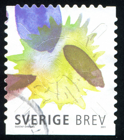 suffusion: SWEDEN - CIRCA 2011: stamp printed by Sweden, shows Paint stains, circa 2011 Editorial