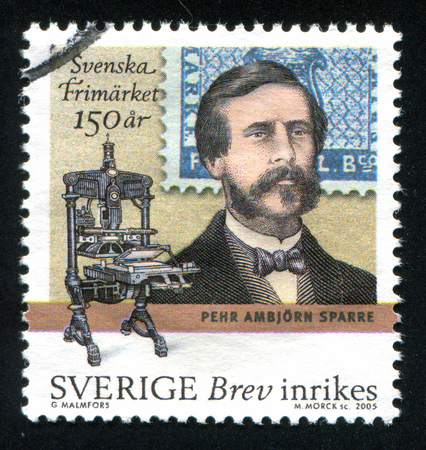 famous industries: SWEDEN - CIRCA 2005: stamp printed by Sweden, shows Count Pehr Ambjorn Sparre and printing press, circa 2005