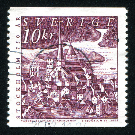 SWEDEN - CIRCA 2002: stamp printed by Sweden, shows Close-up view of Cathedral and palace, circa 2002 Stock Photo - 25053843