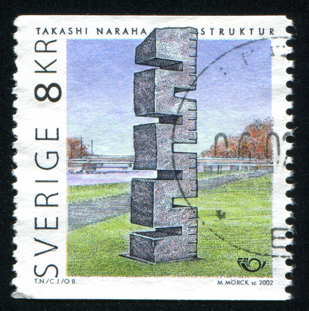 takashi: SWEDEN - CIRCA 2002: stamp printed by Sweden, shows Structure by Takashi Naraha, circa 2002 Editorial