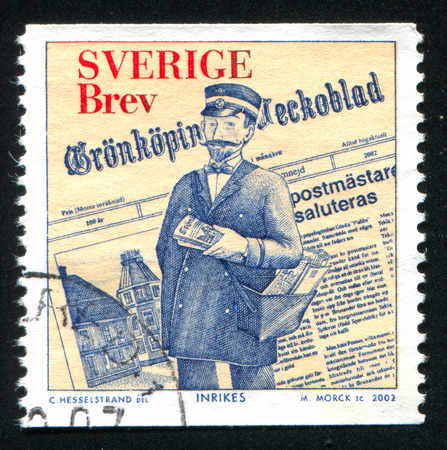 postmaster: SWEDEN - CIRCA 2002: stamp printed by Sweden, shows Newspaper and fictitious Postmaster of Gronkoping, circa 2002