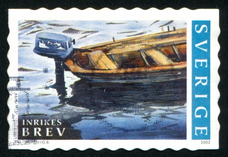 SWEDEN - CIRCA 2002: stamp printed by Sweden, shows Boat with outboard motor, circa 2002