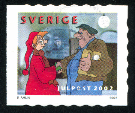 SWEDEN - CIRCA 2002: stamp printed by Sweden, shows Karl-Bertil giving parcel to poor man, circa 2002