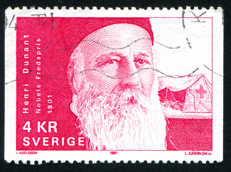 SWEDEN - CIRCA 1991: stamp printed by Sweden, shows Jean Henri Dunant, circa 1991