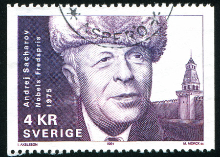 physicist: SWEDEN - CIRCA 1991: stamp printed by Sweden, shows Andrei Sakharov, physicist, circa 1991 Editorial
