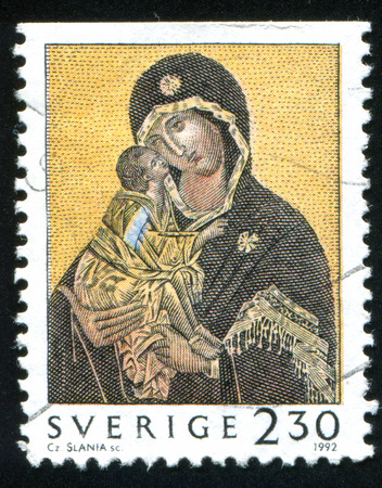 SWEDEN - CIRCA 1992: stamp printed by Sweden, shows Madonna and Child, circa 1992