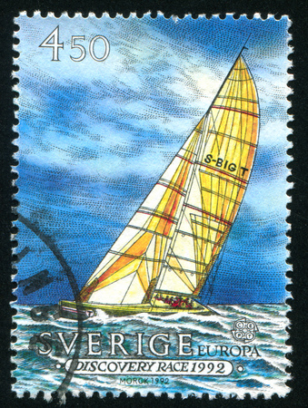 SWEDEN - CIRCA 1992: stamp printed by Sweden, shows Sailing ship Big T, circa 1992
