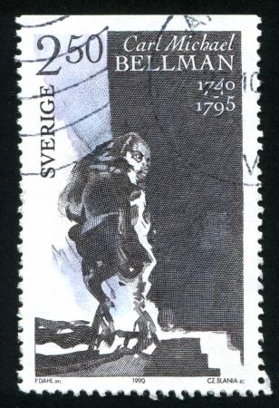 carl: SWEDEN - CIRCA 1990: stamp printed by Sweden, shows Fredmen in the gutter, circa 1990 Editorial