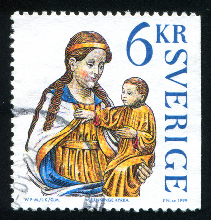 SWEDEN - CIRCA 1999: stamp printed by Sweden, shows Madonna and child icon from Skanninge Church, circa 1999