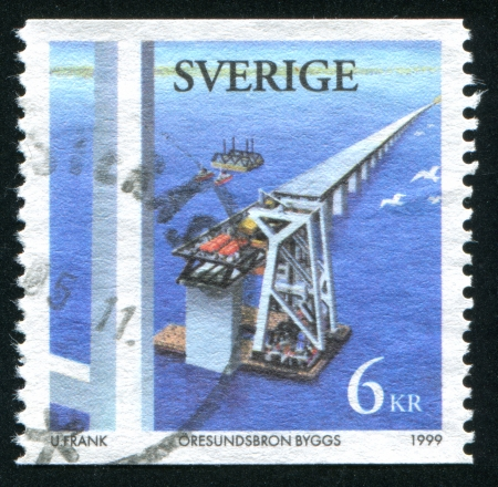 bridge footing: SWEDEN - CIRCA 1999: stamp printed by Sweden, shows Building bridge, circa 1999