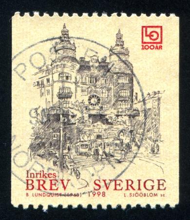 confederation: SVEZIA - CIRCA 1998: timbro stampato dalla Svezia, mostra confederazione svedese dei sindacati, circa 1998